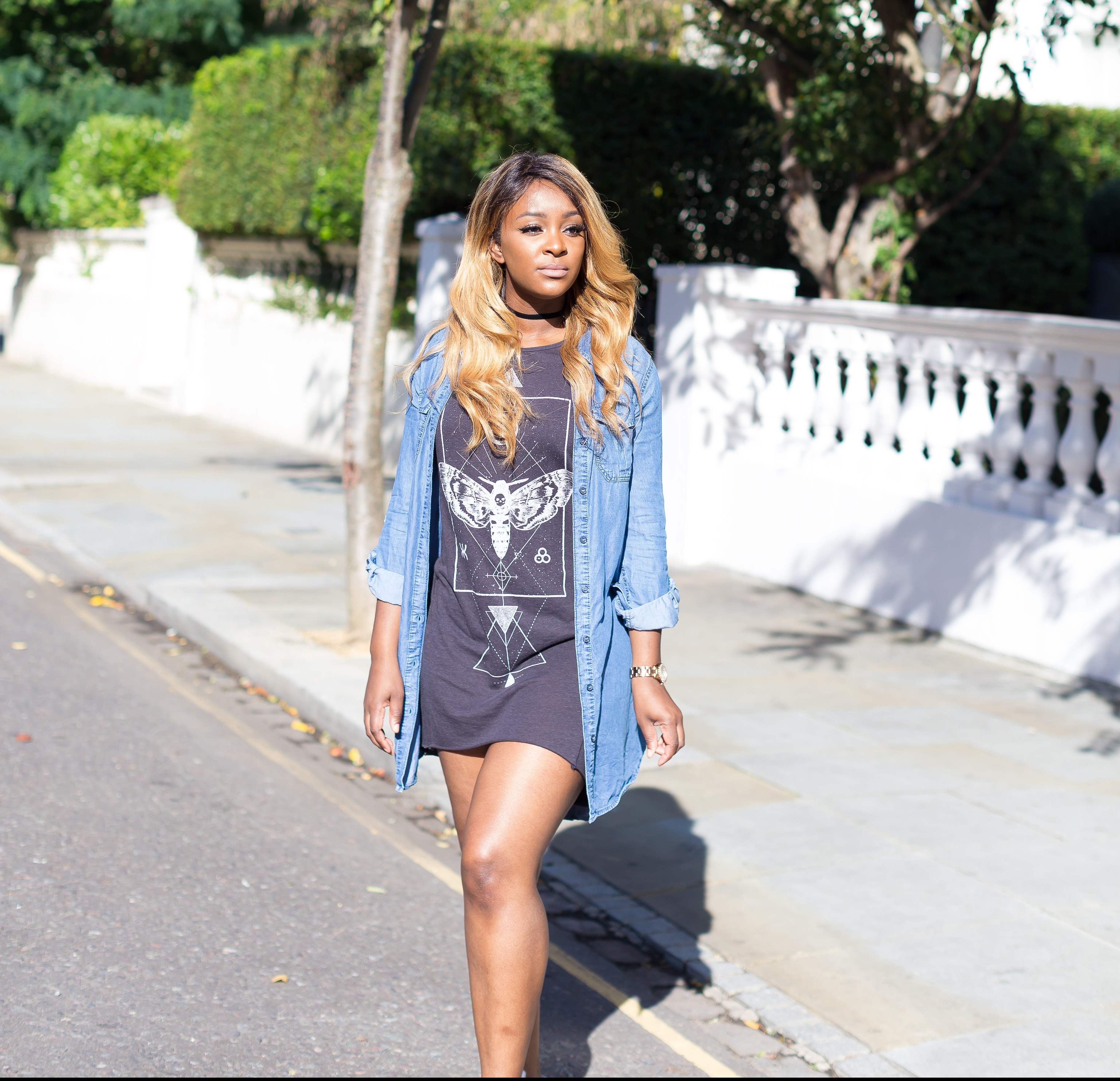 raychel-says-blue-denim-dress-brown-print-top-micheal-kors-rose-gold-watch-adidas-superstar-black-choker
