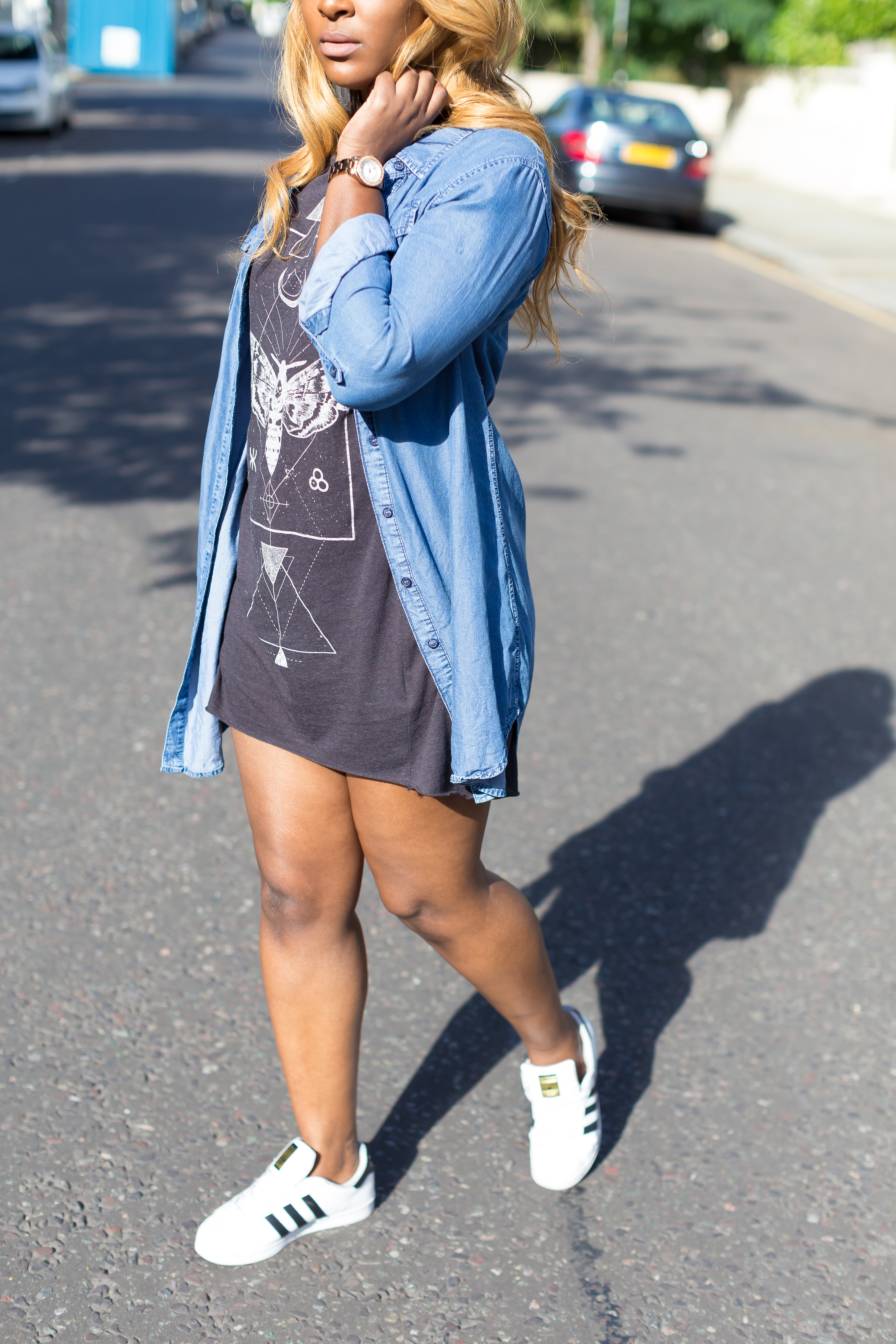 raychel-says-blue-denim-dress-brown-print-top-micheal-kors-rose-gold-watch-adidas-superstar