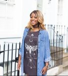 raychel-says-hnm-black-choker-blue-denim-dress-brown-print-top-micheal-kors-rose-gold-watch